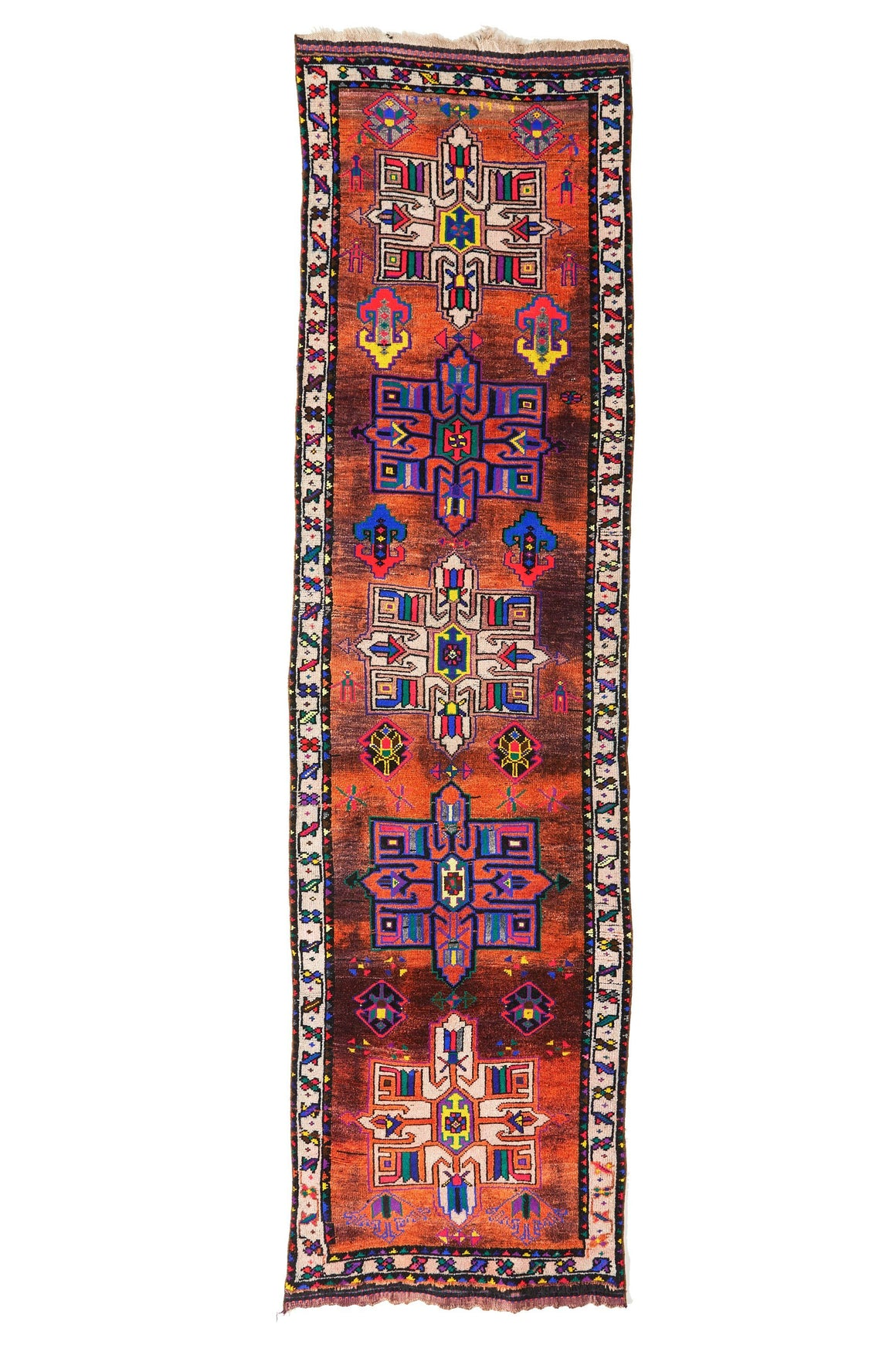 "'Splendid' Turkish Vintage Runner Rug - 2'10"" x 10'8"" - Canary Lane - Curated Textiles"
