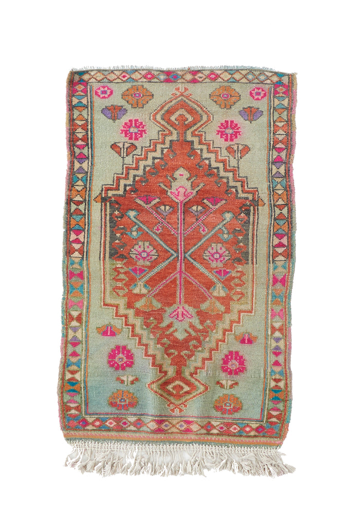 "'Florence' Vintage Turkish Accent Rug - 2'5.5"" x 4'5"" - Canary Lane - Curated Textiles"