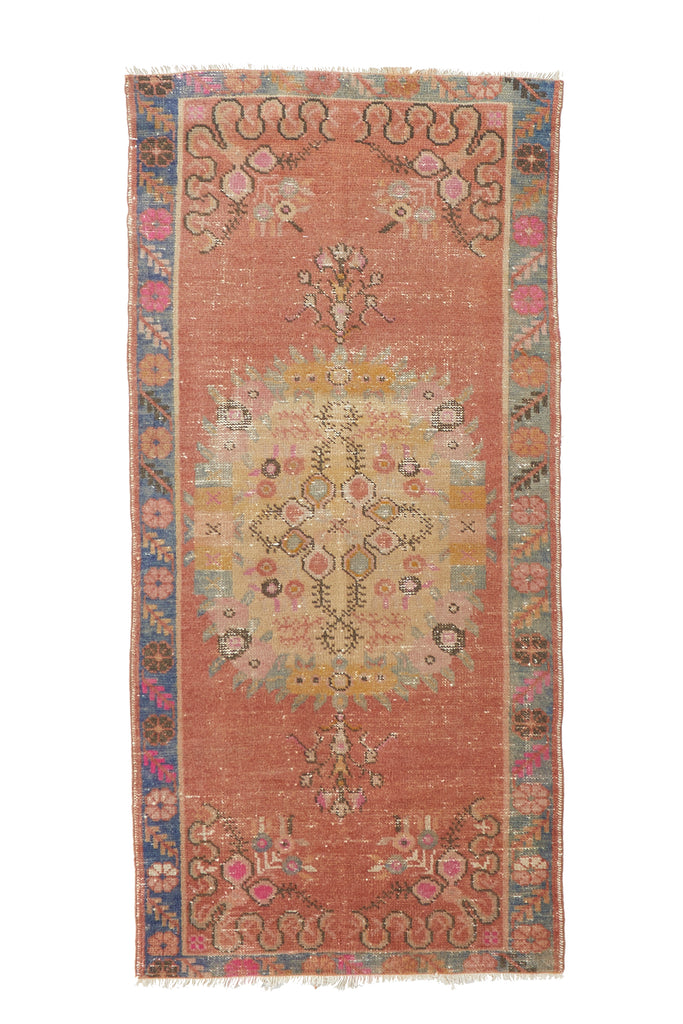 "'Eden' Vintage Turkish Ombre Rug - 2'9"" x 6' - Canary Lane - Curated Textiles"