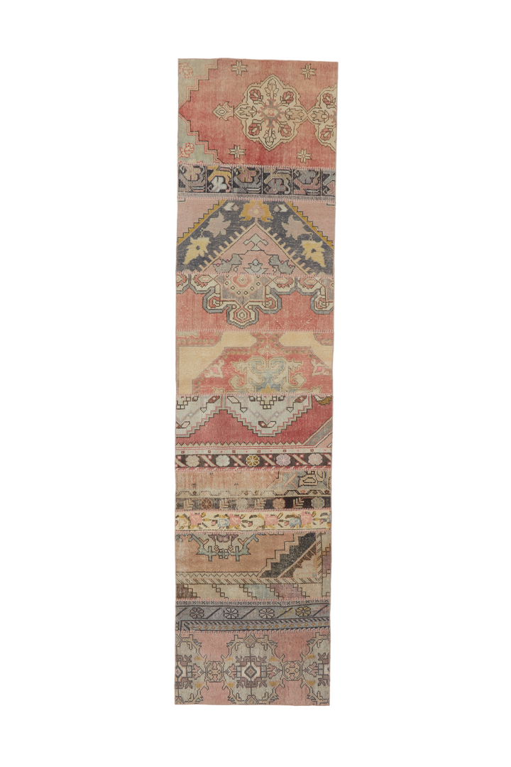 "'Aurelie' Vintage Turkish Patchwork Runner - 2'11"" x 11'11"""