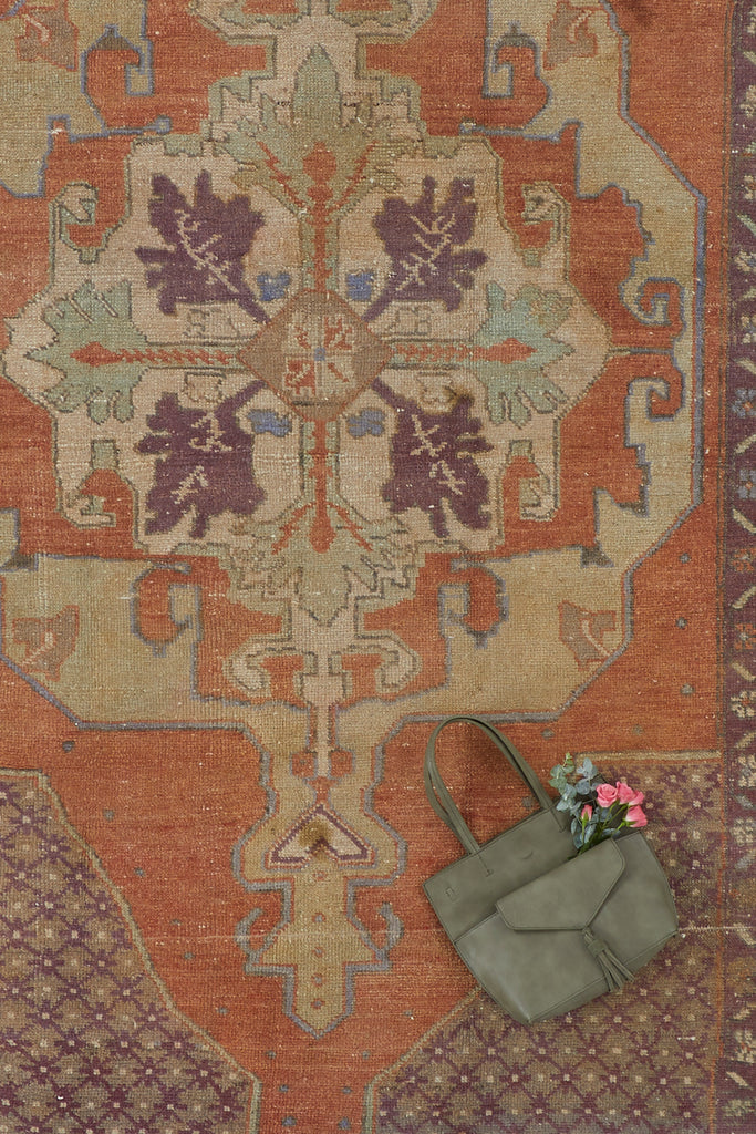 'Frances' Distressed Vintage Oushak Area Rug - 4'9'' x 8'10'' - Canary Lane - Curated Textiles