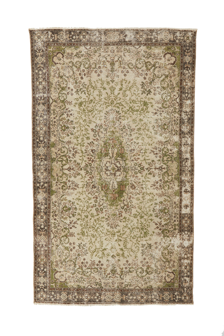 "'Aries' Turkish Vintage Area Rug - 6'4"" x 10'8"" - Canary Lane - Curated Textiles"