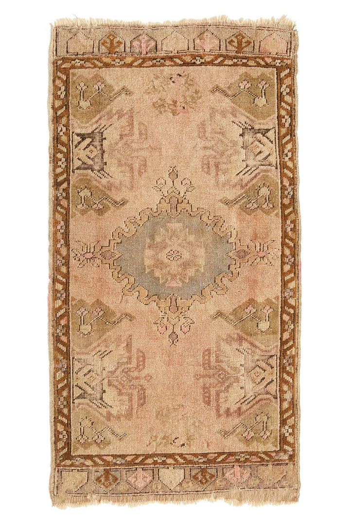 'YR-0118-339' Distressed Petite Rug - 1'8'' x 3'3'' - Canary Lane - Curated Textiles
