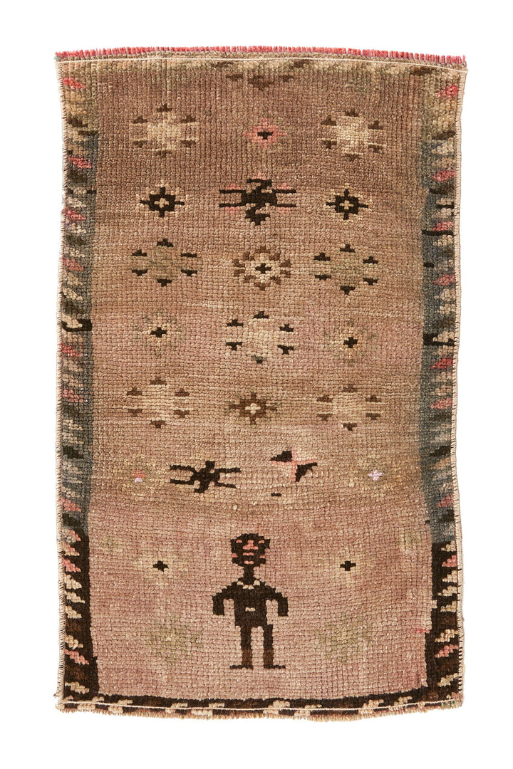 No. 402  Petite Vintage Rug - 1'5'' x 2'5'' - Canary Lane - Curated Textiles