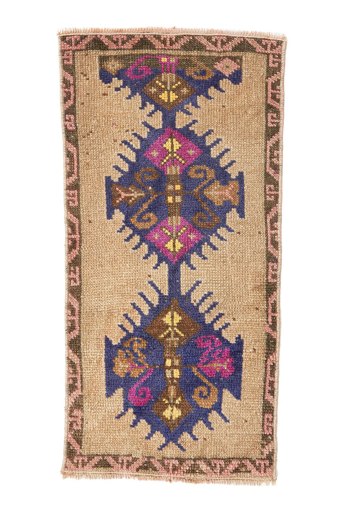 No. 408  Petite Rug - 1'3.5'' x 2'9'' - Canary Lane - Curated Textiles