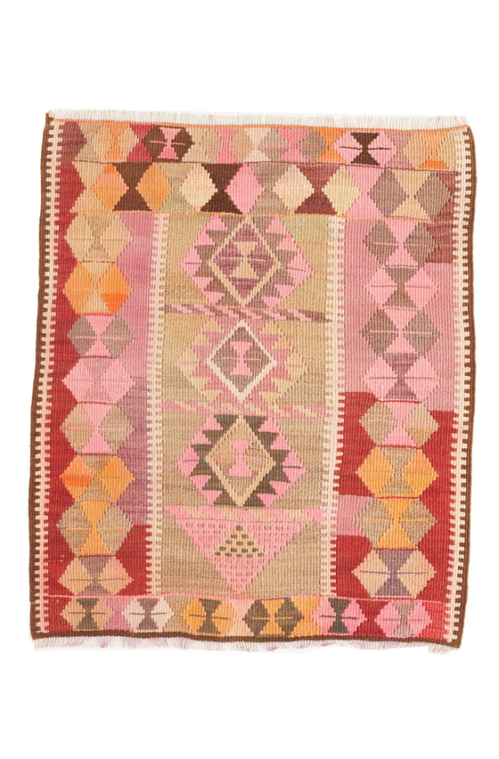 'Ollie' - Small Turkish Vintage Kilim- 2'8.5'' x 3'4'' - Canary Lane - Curated Textiles
