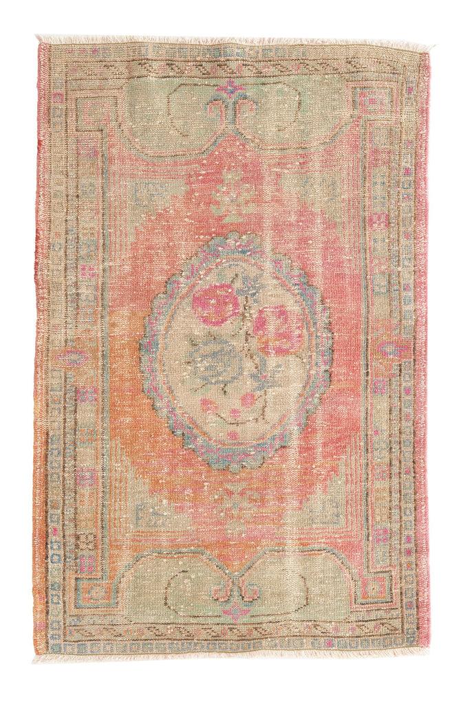 'Antoinette' Faded Oushak Small Accent Rug - 3'4'' x 5'5'' - Canary Lane - Curated Textiles