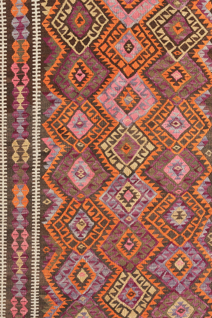 "'Prickly Pear' Vintage Turkish Kilim Area Rug - 3'9"" x 5'8"" - Canary Lane - Curated Textiles"