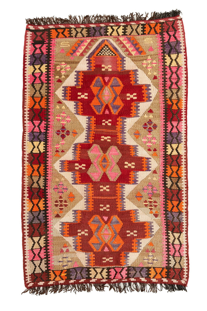 "'Beatrix' Small Turkish Vintage Kilim Rug - 3'1"" x 5'2"" - Canary Lane - Curated Textiles"