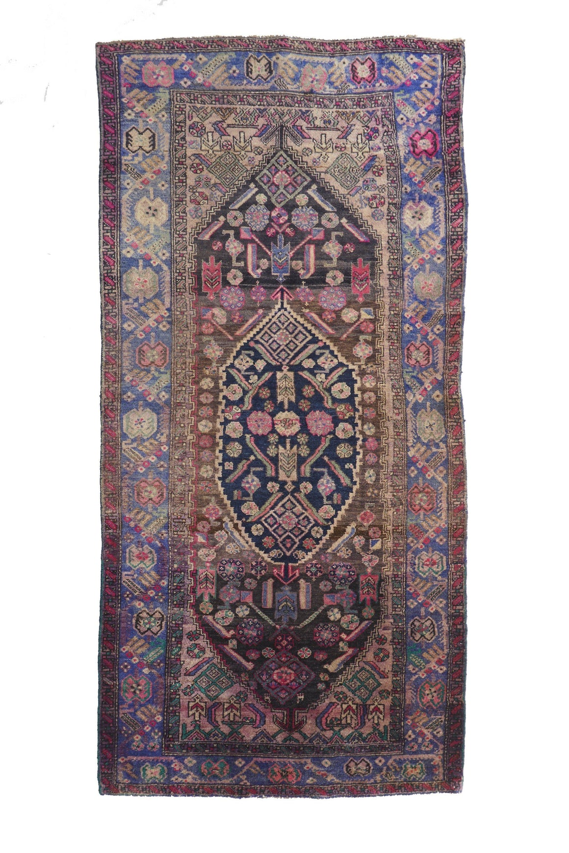 "Wildflower Turkish Vintage Area Rug - 4'2.5"" x 8'9"" - Canary Lane - Curated Textiles"