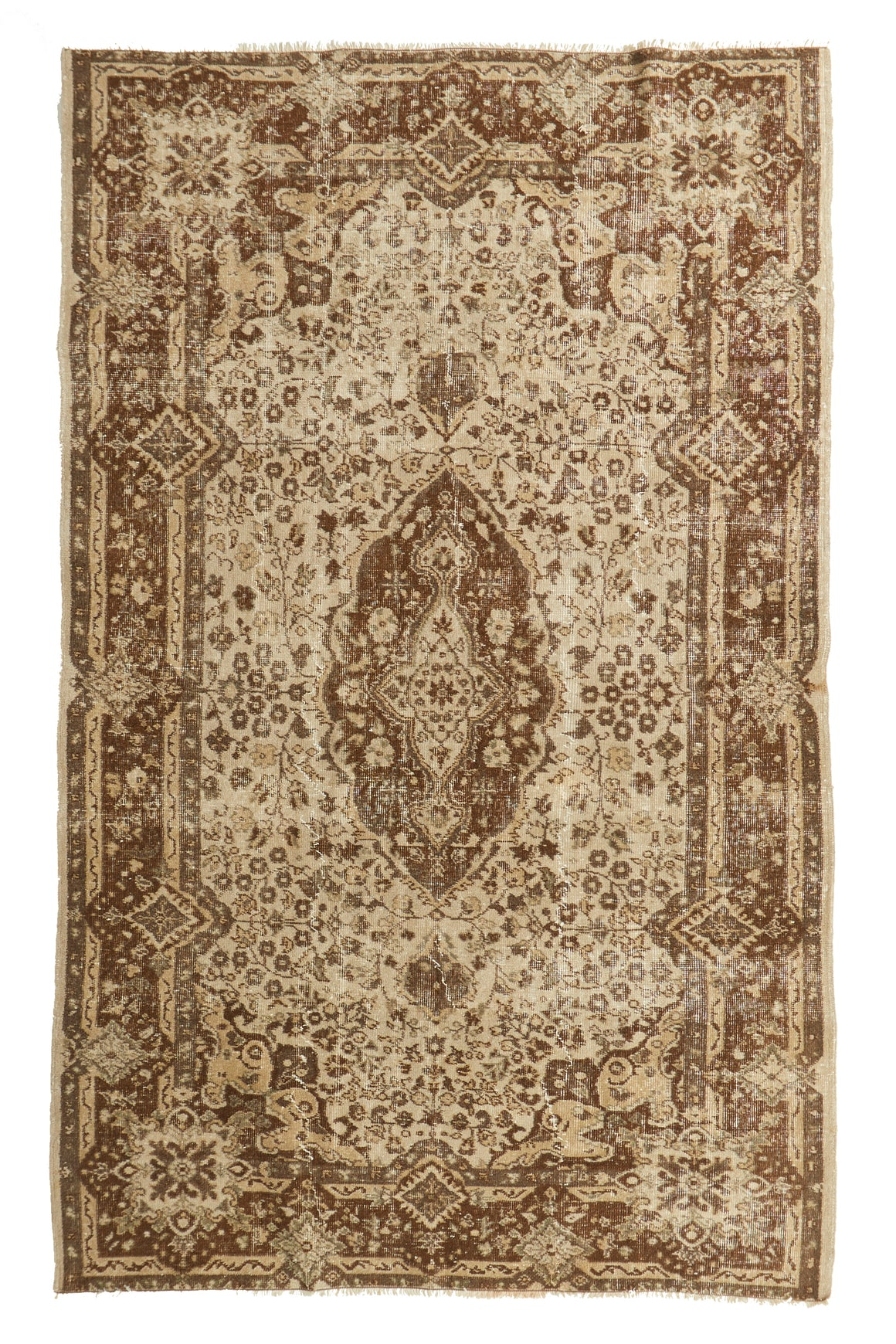 "'Taurus' Vintage Turkish Area Rug - 5'6"" x 8'10"" - Canary Lane - Curated Textiles"