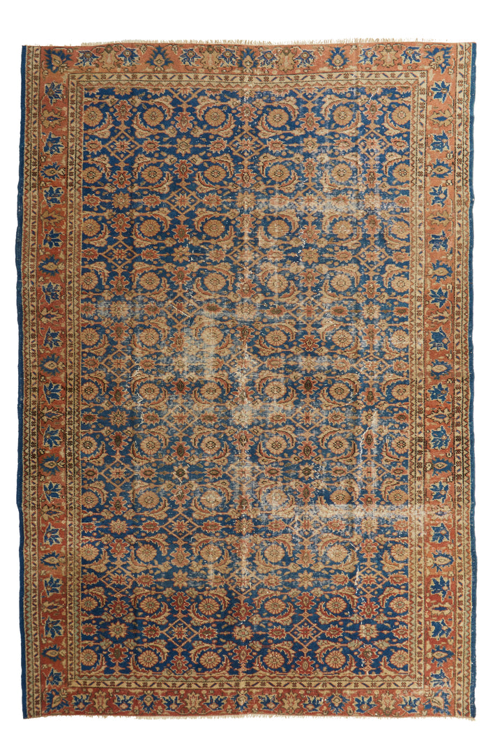 "'Aquarius' Turkish Vintage Area Rug - 6'9"" x 9'10"" - Canary Lane - Curated Textiles"