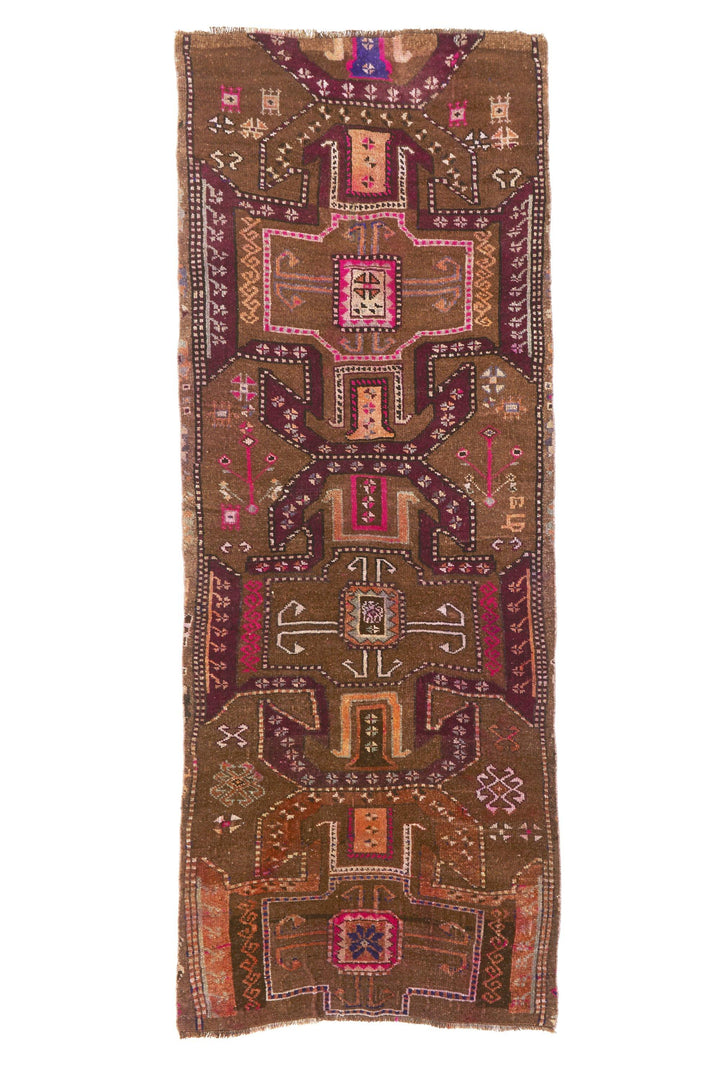 "'Ocotillo' Turkish Vintage Rug - 3'6"" x 9'10"" - Canary Lane - Curated Textiles"