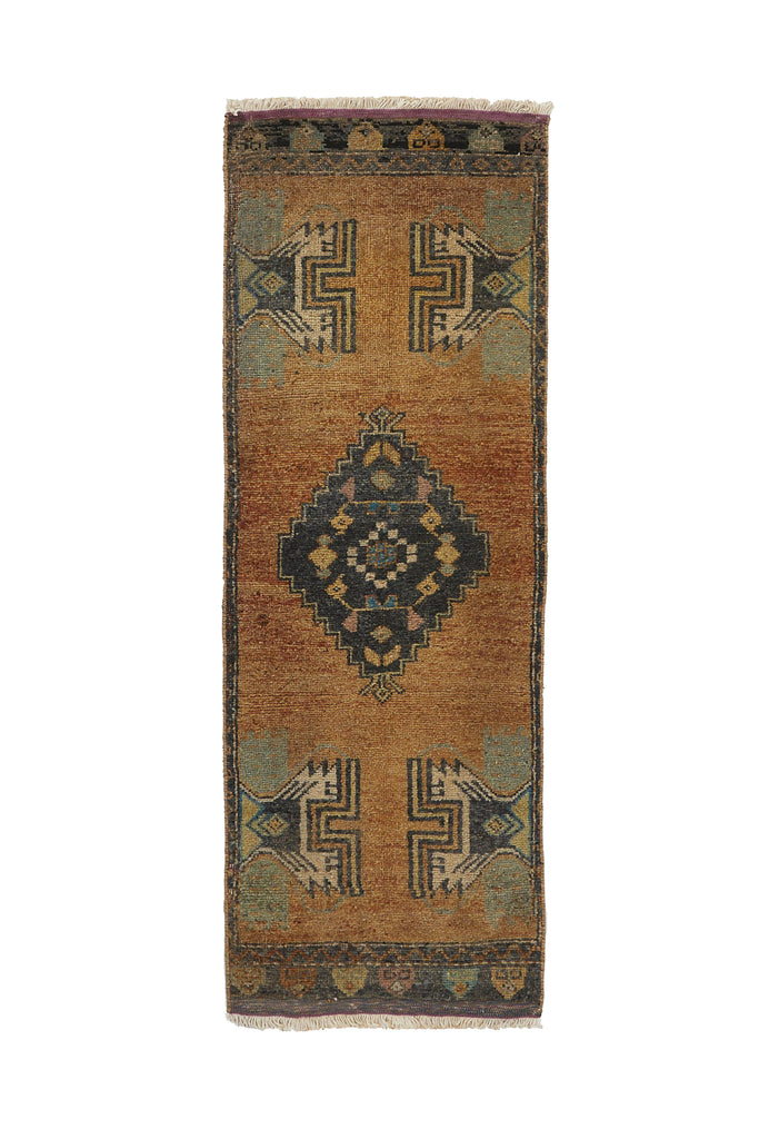 "No. 727 Mini Rug - 1'4"" x 3'10"" - Canary Lane - Curated Textiles"