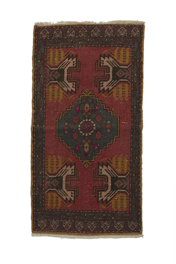 "No. 748 Mini Rug - 1'10"" x 3'7"" - Canary Lane - Curated Textiles"