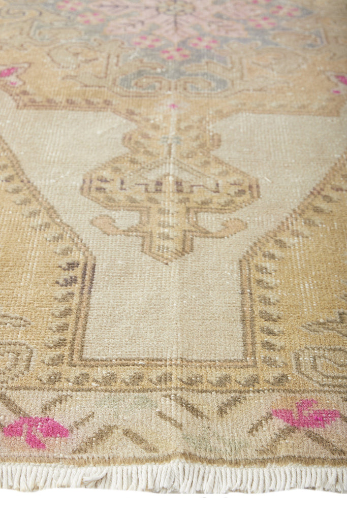 "'Enchanted' Vintage Turkish Oushak Rug - 4'6"" x 7'9"" - Canary Lane - Curated Textiles"