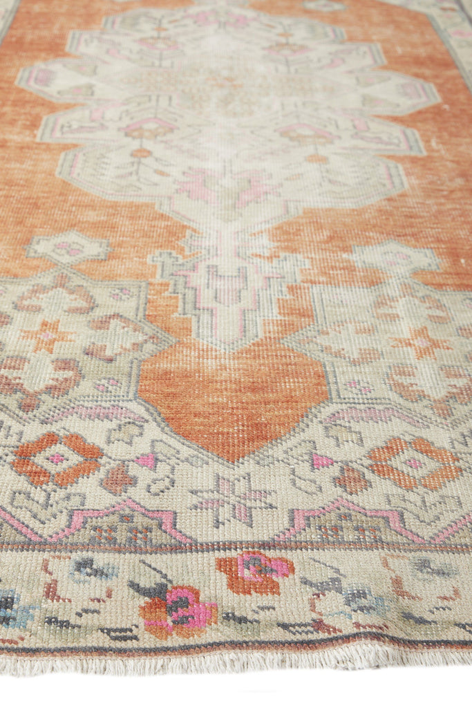 "'Whimsical' Vintage Turkish Oushak Rug - 4'8"" x 7'8"" - Canary Lane - Curated Textiles"