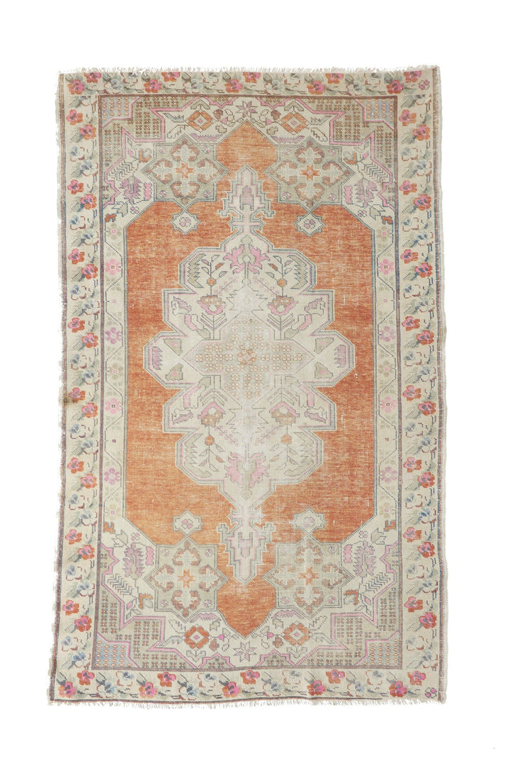 "'Whimsical' Vintage Turkish Oushak Rug - 4'8"" x 7'8"""