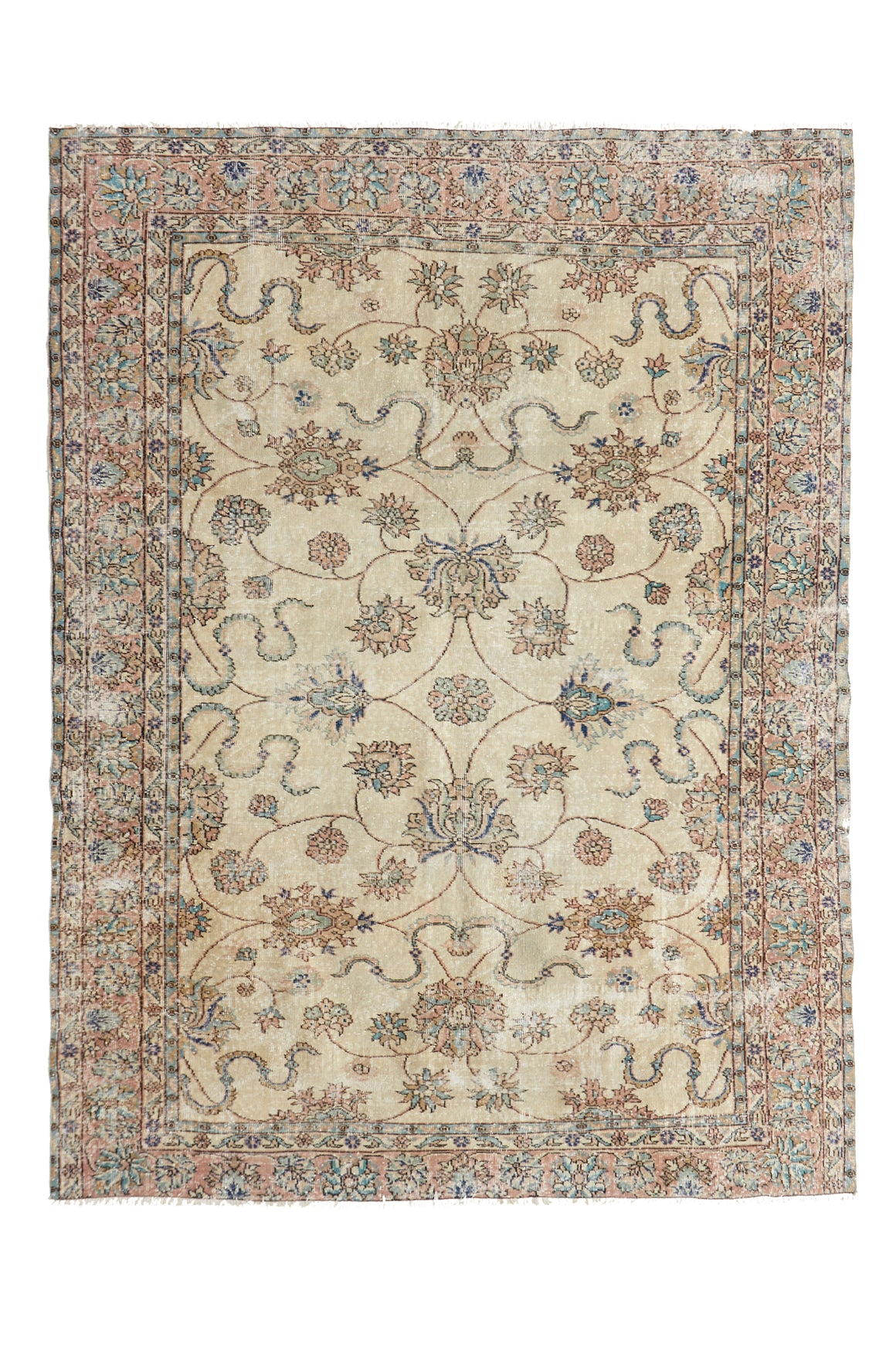 "'Libra' Turkish Vintage Area Rug - 6'8"" x 8'11"" - Canary Lane - Curated Textiles"
