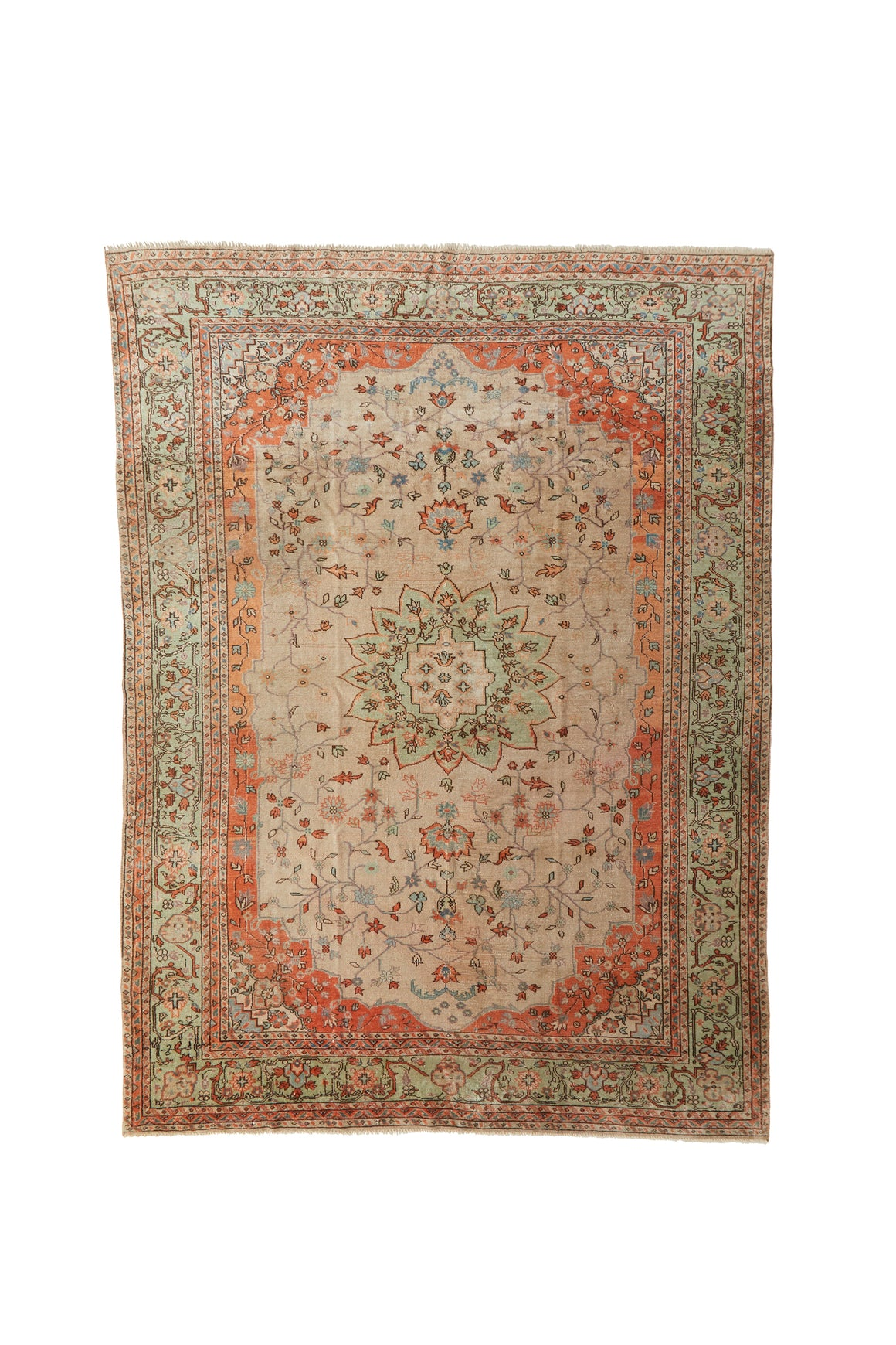 "'Chrysanthemum' Vintage Persian Rug - 6'5"" x 8'8"" - Canary Lane - Curated Textiles"