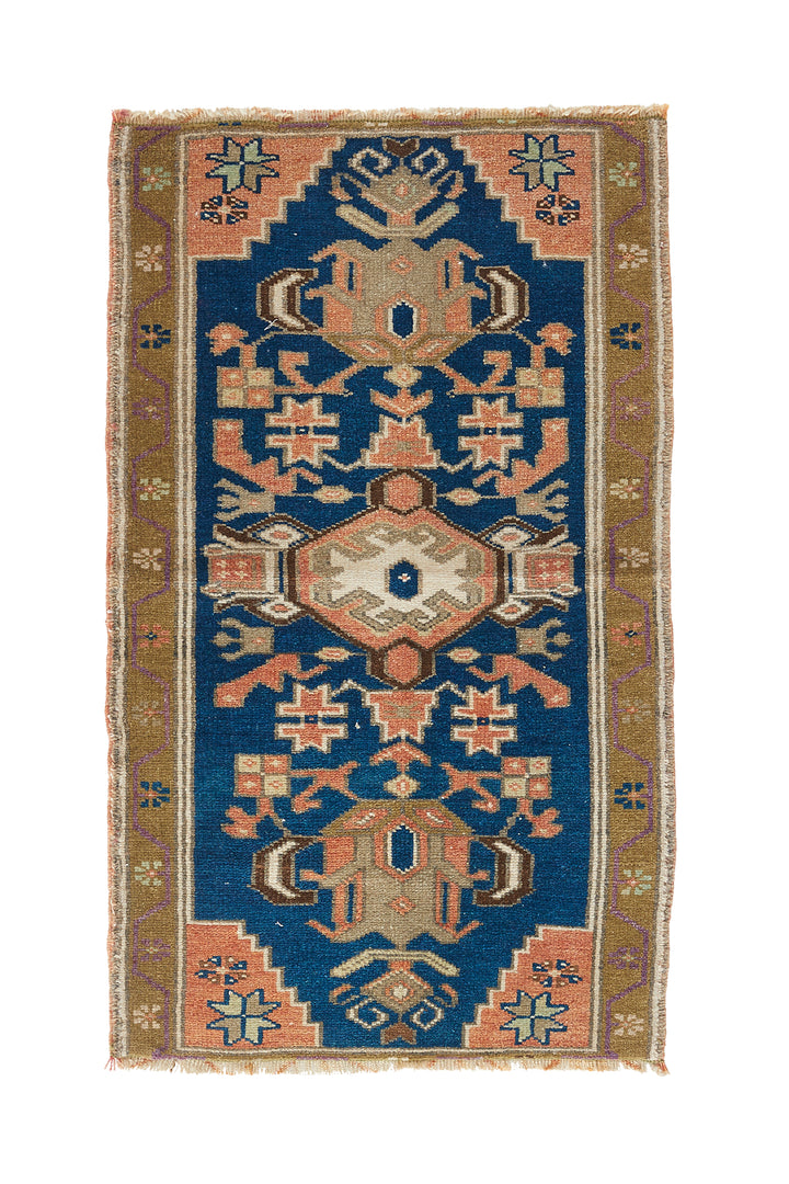 "'Tiny Dancer' Vintage Persian Rug - 1'10"" x 3'2"" - Canary Lane - Curated Textiles"