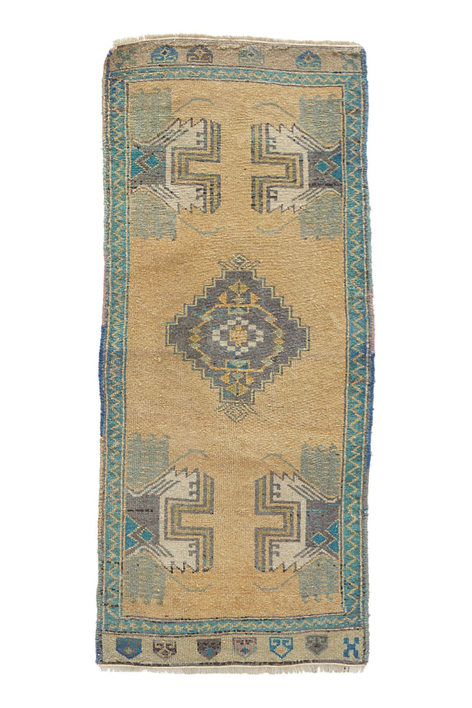 "No. 940 Mini Rug - 1'8"" x 4' - Canary Lane - Curated Textiles"