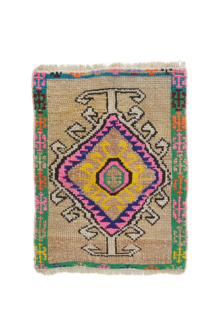 "No. 950 Mini Rug - 1'8"" x 2'3"" - Canary Lane - Curated Textiles"
