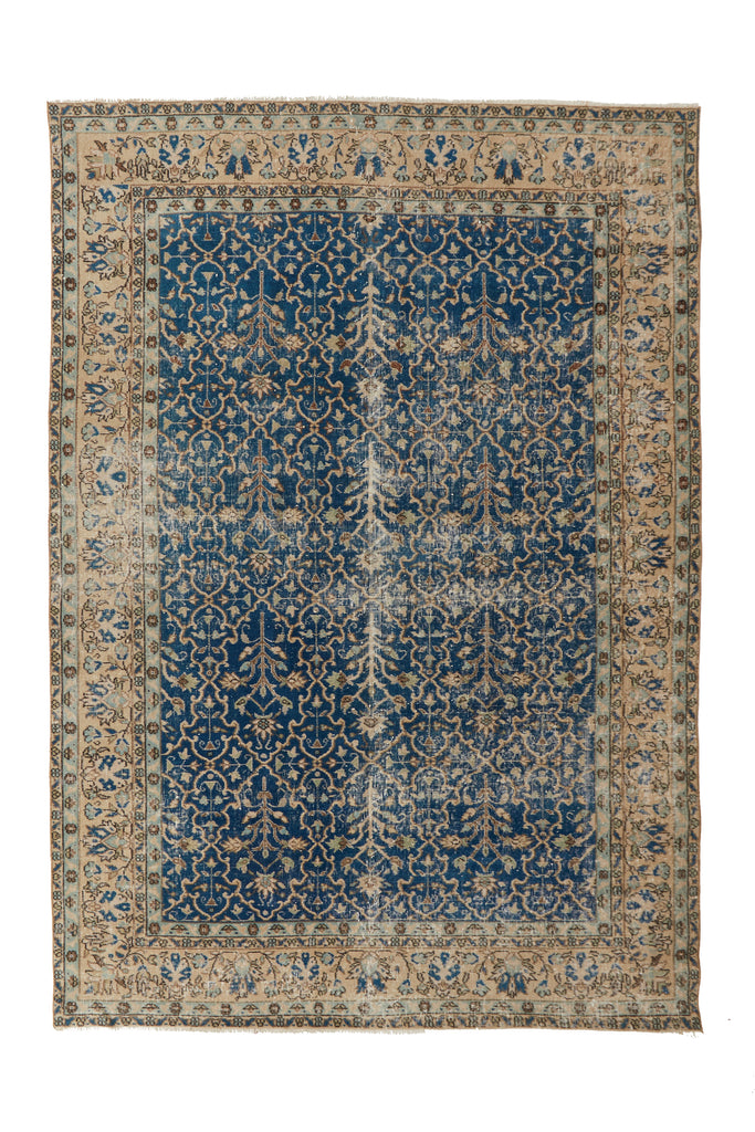 "'Pisces' Turkish Vintage Area Rug - 6'11"" x 10' - Canary Lane - Curated Textiles"
