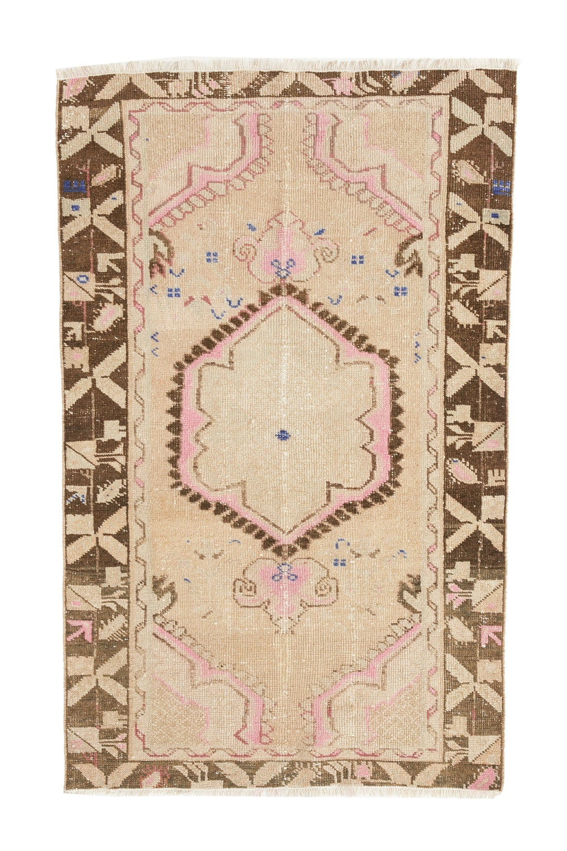 'Whimsical' - Vintage Turkish Faded Accent Rug - 2'9.5'' x 4'5'' - Canary Lane - Curated Textiles