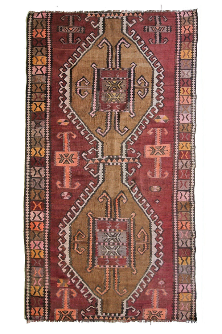 "'Lilah' Vintage Kilim - 4'3"" x 7'6"" - Canary Lane - Curated Textiles"