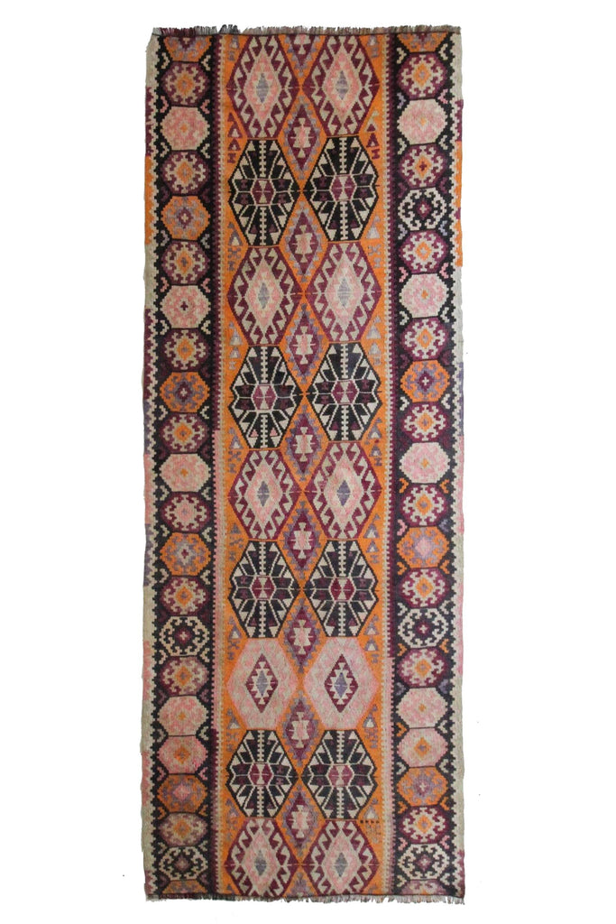 "'Margo' Vintage Kilim - 3'9"" x 9'8"" - Canary Lane - Curated Textiles"