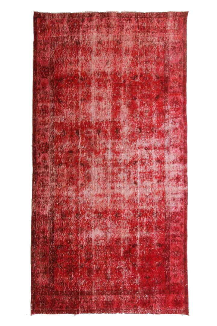 "'Rioja' Overdye Turkish Area Vintage Rug - 3'9"" x 6'10"" - Canary Lane - Curated Textiles"