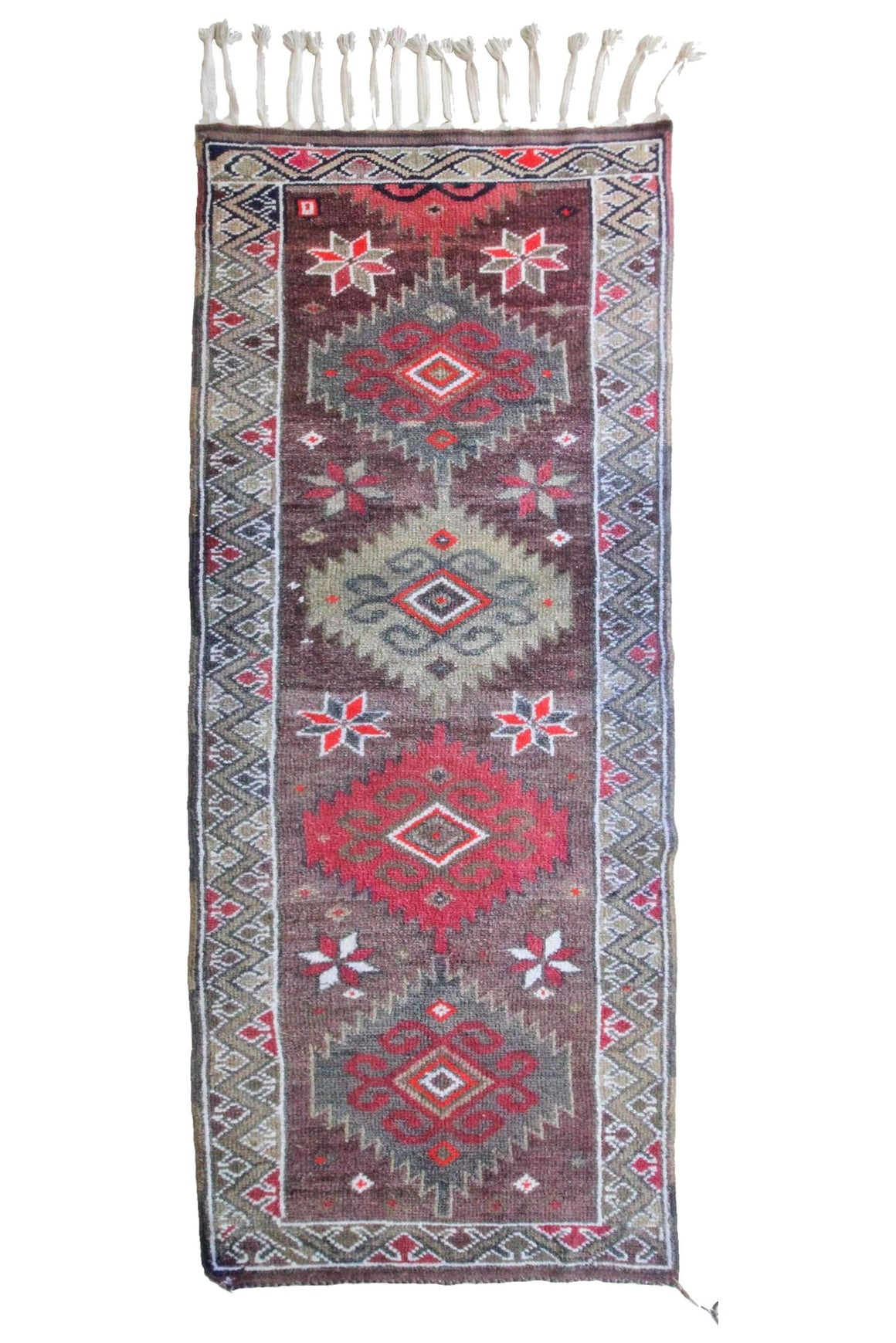 "'Tansy' Vintage Turkish Rug - 3'5"" x 9'3"" - Canary Lane - Curated Textiles"