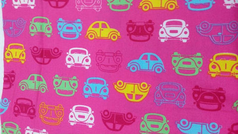 Cotton Yardage - Colorful Cars on Pink