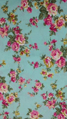 Cotton Yardage - Colorful Roses on Green