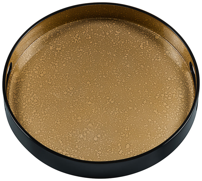 Gold Cloud, medium round black tray