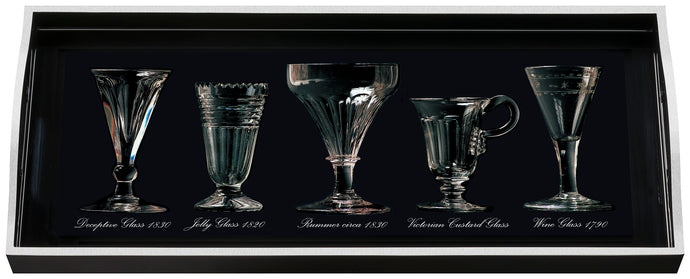 Antique Glasses, sandwich black tray