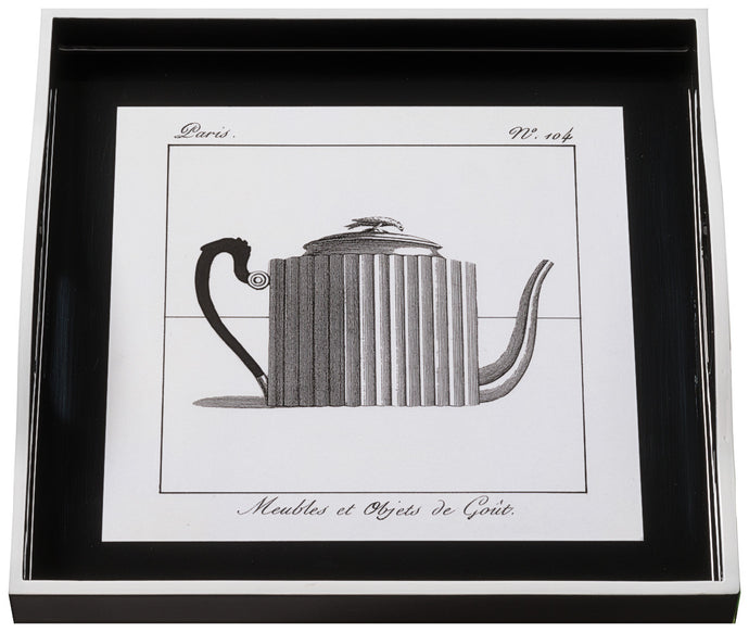 Teapot on Black, small black tray
