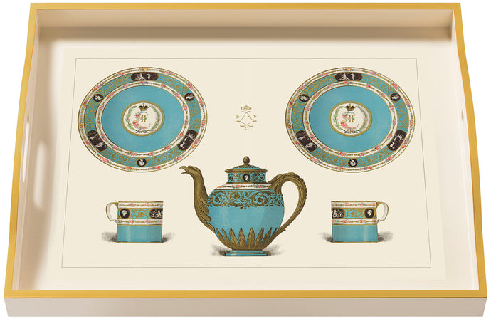 Porcelain, Turquoise, large cream tray