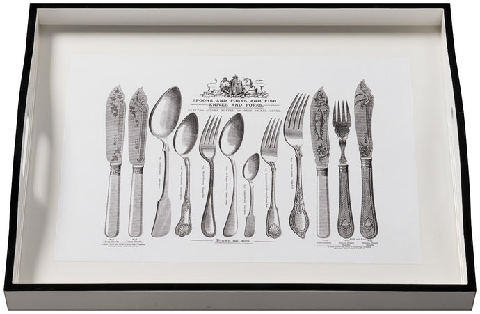 Cutlery on White, large white tray
