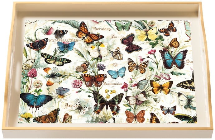 Butterflies, large cream tray