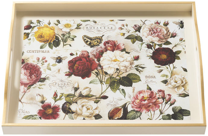Roses, large cream tray