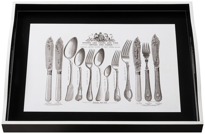 Cutlery on Black, large black tray