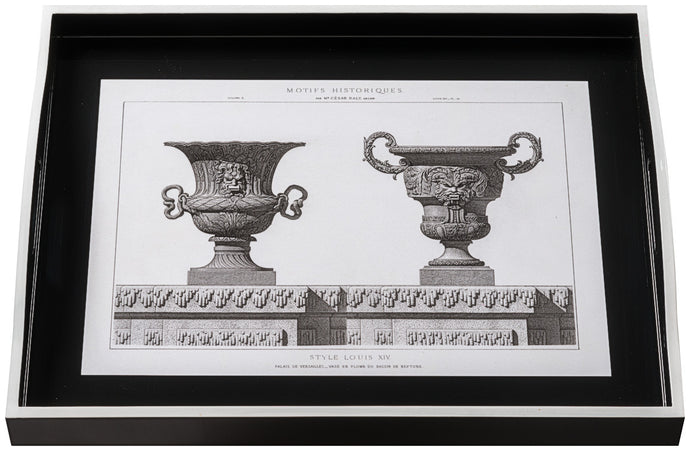 Urns on Black, large black tray