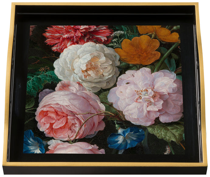 Flowers, small black tray