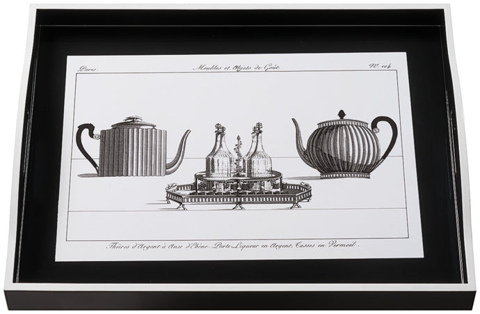 Teapot on Black, large black tray