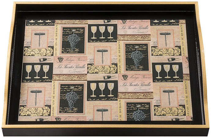 Vins de France, large black tray