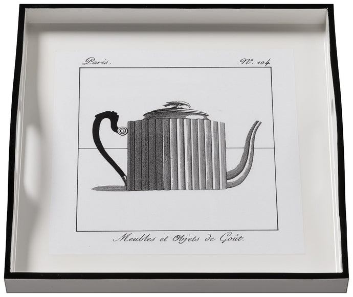 Teapot on White, small white tray