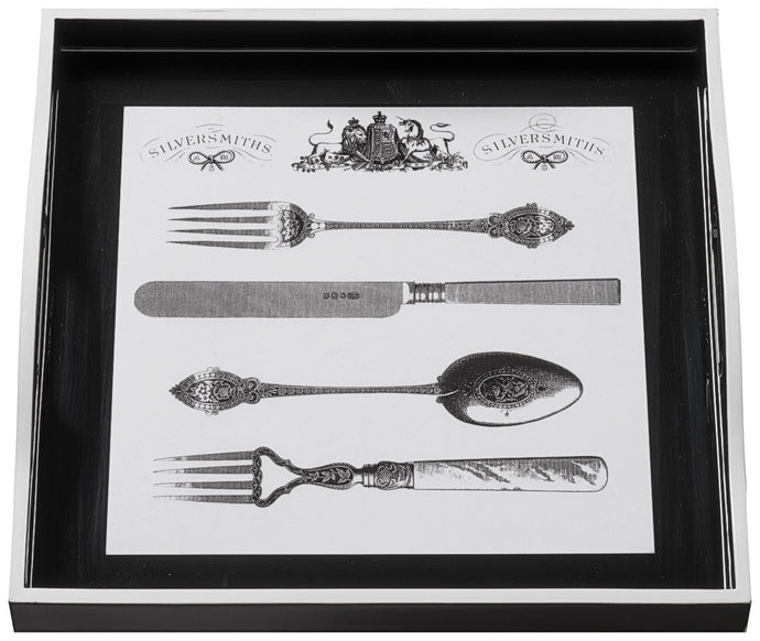 Cutlery on Black, small black tray