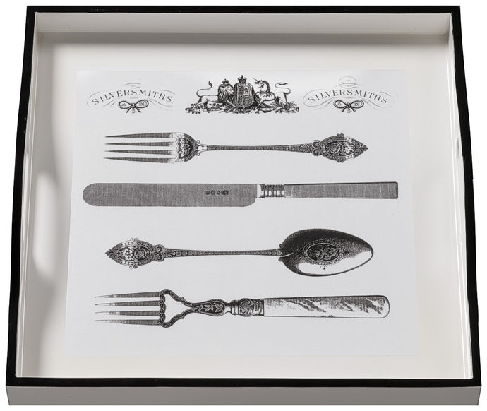 Cutlery on White, small white tray